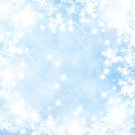 winter colors: Winter background with some soft highlights and snow flakes Stock Photo