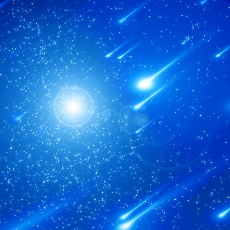 cosmos: Blue night sky filled with twinkiling stars Stock Photo