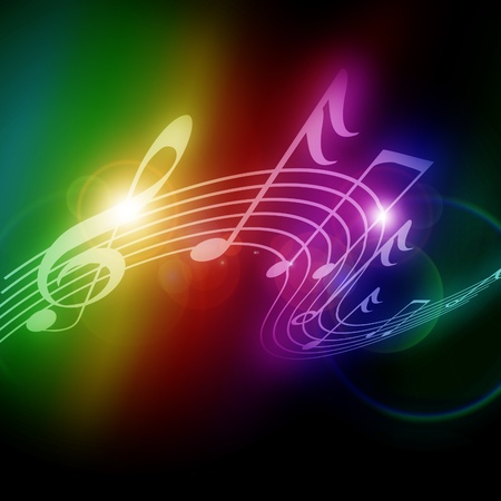 Colorful musical notes on a soft dark background Stock Photo - 16419823