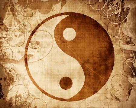 yang yin: Yin Yang firmar con algunos toques de luz y reflejos