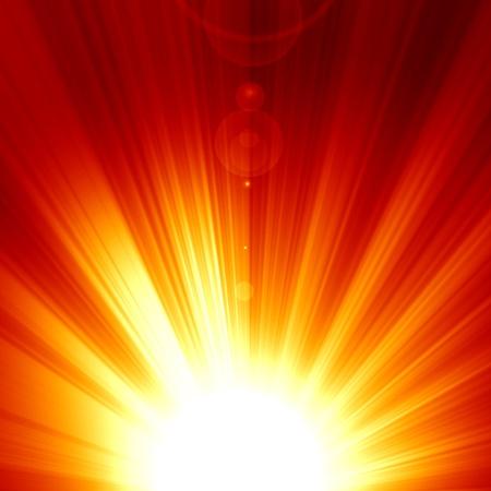 방사상: 강렬한 빛과 태양 광선 붉은 태양