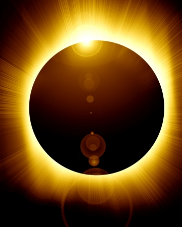 sun and moon: eclipse total solar con algunos rayos de luces suaves