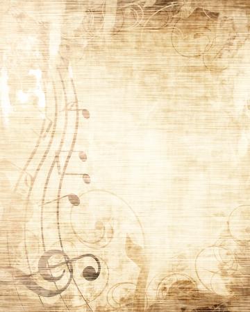 notas musicales: De m�sica antigua con las notas musicales Foto de archivo