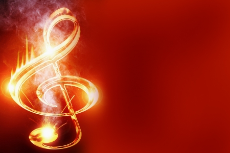 Colorful musical note on a soft dark background Фото со стока