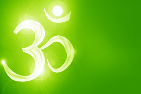 Om symbol on a soft glowing background with beams