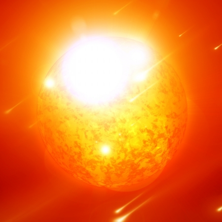 intense: Sun in outer space with intense solar activity
