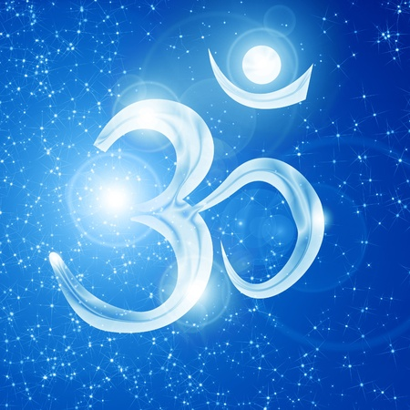 Om symbol on a soft glowing background with beams photo