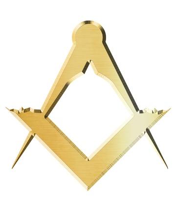 Masonic plein en kompas met sommige zachte highlights