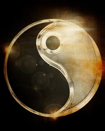 yin y yang: Yin Yang firmar sobre un fondo brillante Foto de archivo