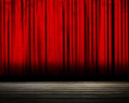 red background: Movie or theater curtain with soft shades