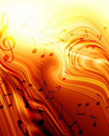 Colorful musical note on a soft glowing  background photo