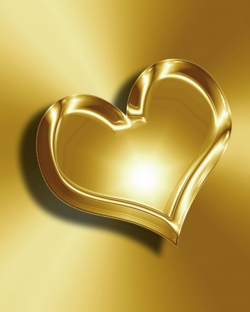 Golden heart with smooth lines and some faint reflections