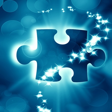 Glowing puzzle piece with some soft highlights Stock Photo - 18102349