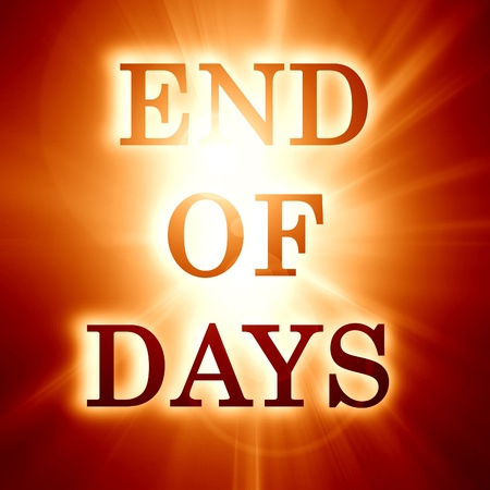 end of days written on a soft orange background photo