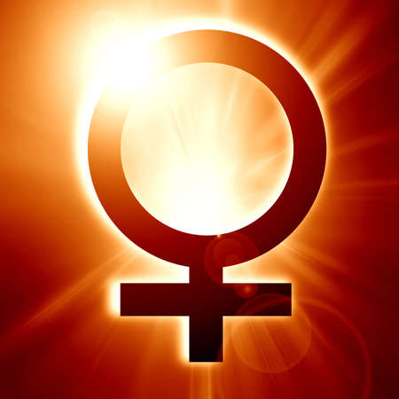 female symbol on a soft red background photo