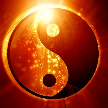 Yin Yang sign on a glowing background Stok Fotoğraf