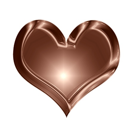 mariage: chocolate heart shape isolated on a solid white background