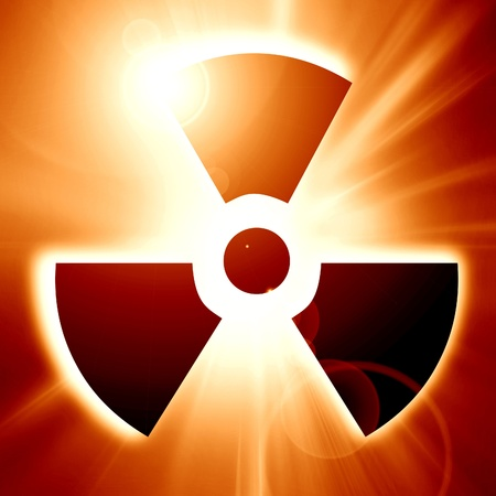 radioisotope: radiation sign on a soft orange background