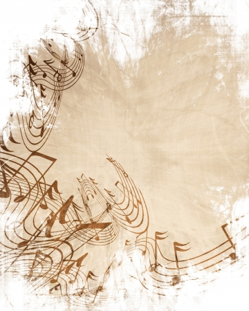 Old music sheet with musical notes