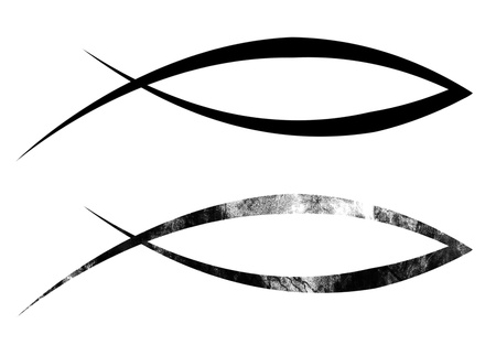 pez cristiano: negro s�mbolo cristiano de los pescados en un fondo blanco s�lido Foto de archivo
