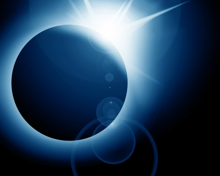 lunar eclipse: total solar eclipse on a dark background Stock Photo