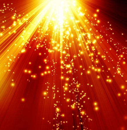 Golden sparkling background with intense glowing sparkles and glitter