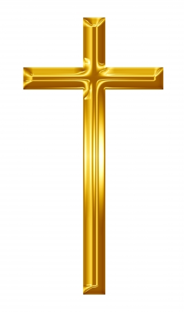 golden cross on a solid white background