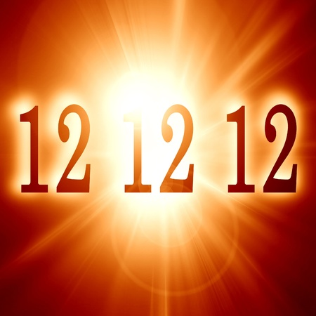 doomsday: 12 12 12 written on a soft red background (doomsday) Stock Photo