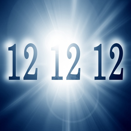 12 12 12 written on a soft blue background (doomsday) photo