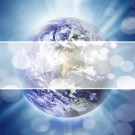 earthlike: planet earth on outer space on a blue background