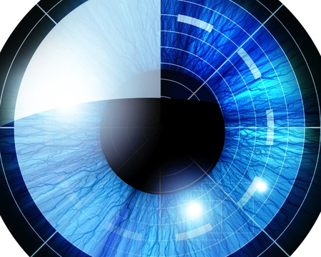 solid blue background: eye scan: blue eye on a solid white background Stock Photo