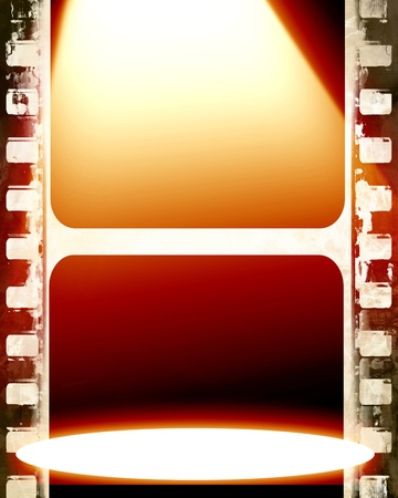 bright spotlight on a film strip with some stains on it photo