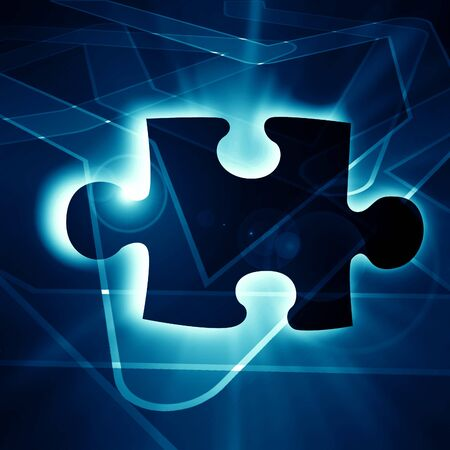 Glowing puzzle piece with some soft highlights Stock Photo - 21878659
