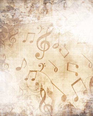 뮤지컬 메모와 함께 오래 된 음악 시트