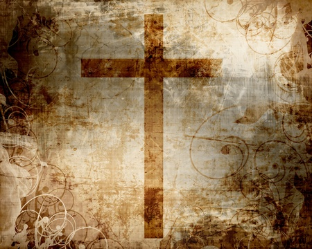 christian background: Christianity representation with the symbol of a cross on parchment