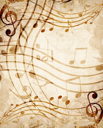 sheet music: Old music sheet with musical notes