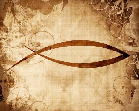 pez cristiano: s�mbolo cristiano de los pescados en un pergamino o papel de fondo