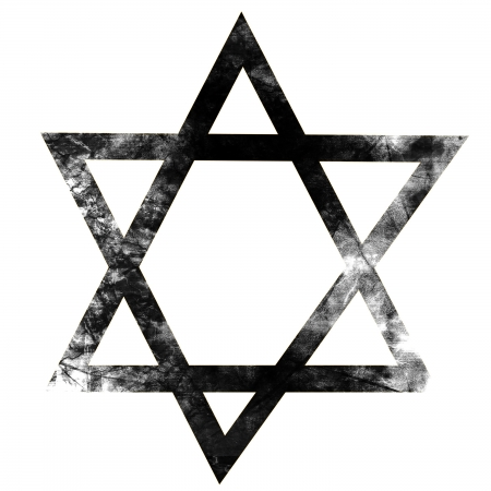 grunge black star of david on a solid white background photo