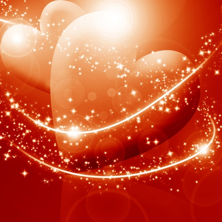 Two hearts surrounded by sparkles on a red background
