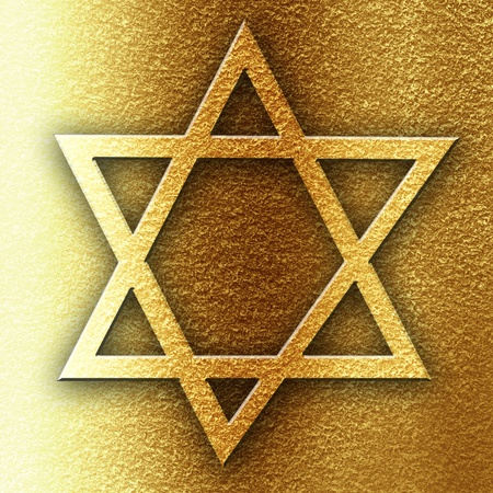 star of david on a golden panel background Stock Photo