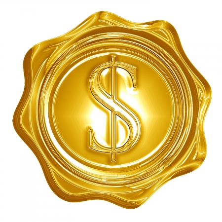 golden seal with a dollar sign on it photo