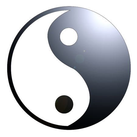 yin yang symbol on a solid white background photo