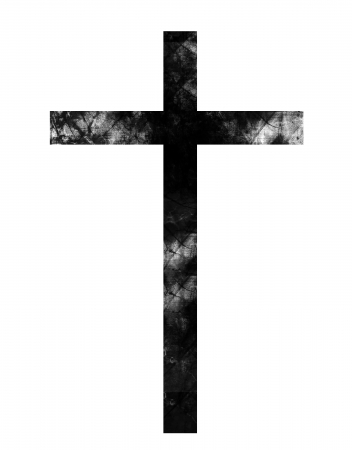 baptist: grunge black cross on a solid white background