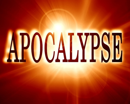 apocalypse written on a soft red background photo