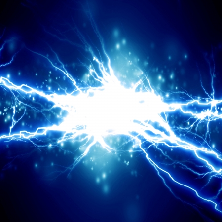 electrocute: bright electrical spark on a dark blue background Stock Photo