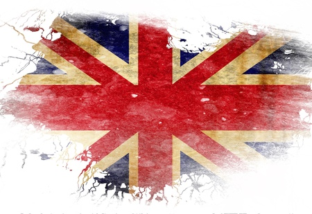 UK flag  with some grunge effects and lines photo
