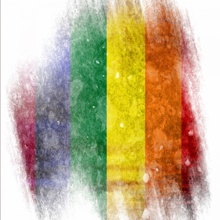 Gay pride flag with some grunge effects and lines