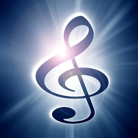 music note on a soft blue background photo