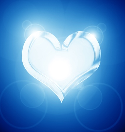 silver heart on a soft blue background photo