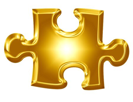 gold puzzlie piece on a solid white background Stock Photo - 21882140